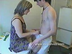 Russian mom and son in the kitchen