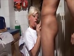 Blonde mom and her son amateur fuck in kitchen homemade
