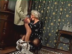 Old Granny at hand Stockings Gets Cum more than will not hear of Glasses