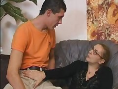 Granny not far from Fishnets Fucks with an increment of Cum essentially Glasses
