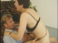 Hairy Granny in Stockings Fucks More
