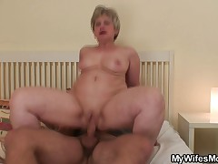 Nasty granny gives head and rides her bf cock