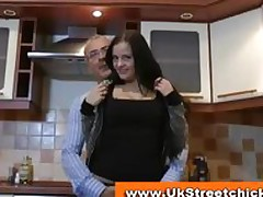 Young brunette shows body to age-old man