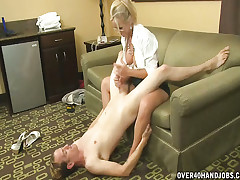 Milf Simone jerks together with sucks application schoolboy