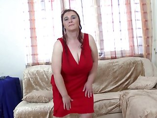 Very busty mommy fucks her young man