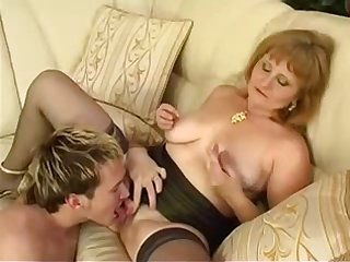 Old russian mom seduces her boy
