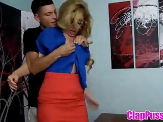 Blonde mom forced fuck by young son