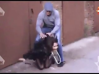 Woman brutaly forced in russian street