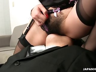 Asian office lady Tsubaki face sitting and enjoy