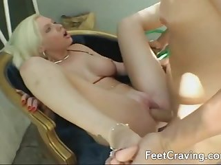 Guy licking and kissing feet