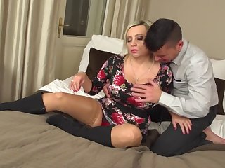 Posh mature mother seduce young son