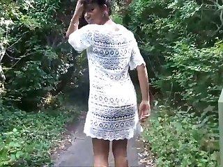 Flashing ebony milf Mels black public nudity and outdoor