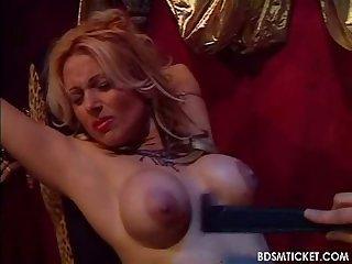 Slave bends over