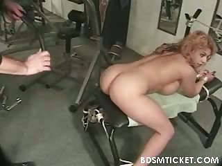 Busty gets flogging