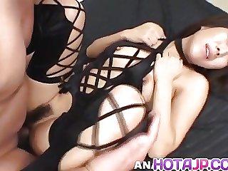Tsubasa Okina naughty Asian milf in black sucks two fat cock