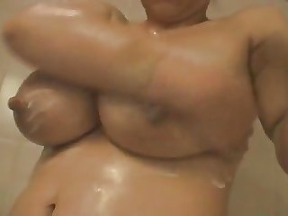 Wife's huge lactating boobs 11