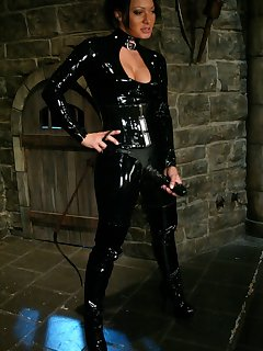 12 of Sandra Romain worn in black latex is fucked her slaveboy`s ass hard