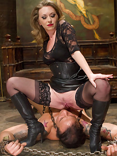 <!–-IMAGE_COUNT-–> of The dominatrix wanked slave`s cock, got her boot liked and sitting on his face