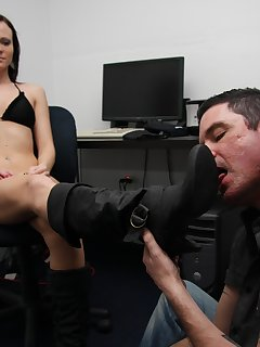 12 of Maggie takes a break from work and gets her boots worshipped