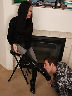 <!–-IMAGE_COUNT-–> of Tiffany makes her boot stool lick her boots