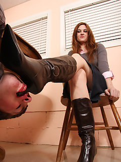 <!–-IMAGE_COUNT-–> of Jennifer's leather boots needs constant shining by her slave's tongue
