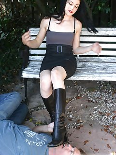16 of Malesub licks boots and get trampled by them outdoor