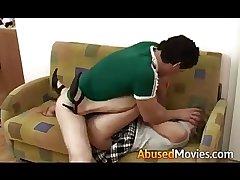 Hot blonde teen abused fuck on couch