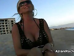 Sexy blonde babe gets horny flashing her film 2