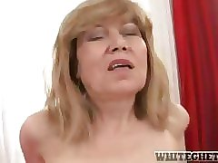 Horny old blonde babe gets her pussy slammed