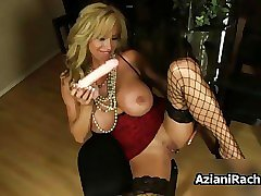 Busty blonde babe goes crazy dildo feature